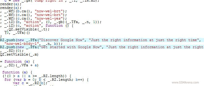 References of Google Now found in JavaScript code that loads in Google homepage - #GSMArena #Blog  #googleNow #JavaScript