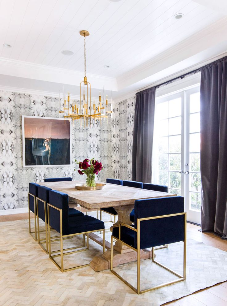 Gorgeous Dining Room With Wallpaper Floor Length Velvet Curtains Herringbone Floors Brass And