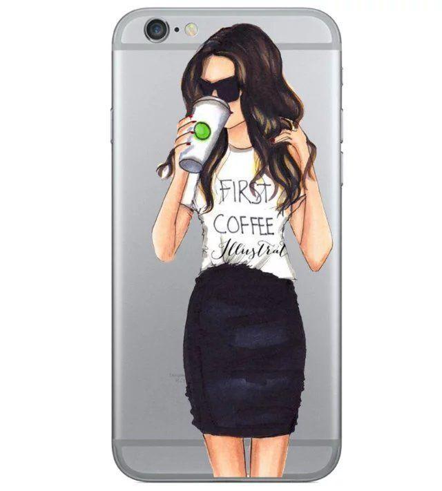 Красивая Девушка пить кофе Дизайн Чехол Для iphone 6 Чехол Для iphone 6 S 6 Плюс…