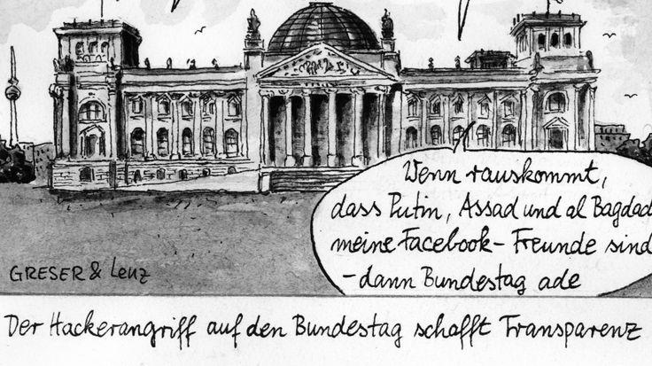 Karikatur / Greser und Lenz / Hackerangriff auf den Bundestag schafft Transparenz