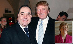 Scottish links: Former first minister Alex Salmond (left) poses with Donald Trump (right) at a fashion show in New York in April 2006. Mr Trump has been stripped of his status as a business ambassador for Scotland  Read more: http://www.dailymail.co.uk/news/article-3353780/Trump-stripped-role-Scottish-business-ambassador-Nicola-Sturgeon-