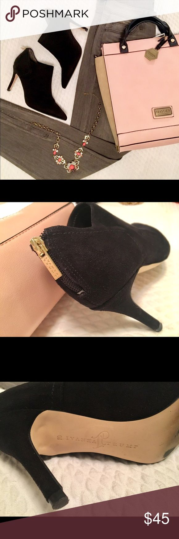 Sale! Ivanka Trump ankle booties with back zipper Sexy ankle booties with a back zipper in gold from Ivanka Trump. Worn twice, great condition with soles reflecting that shoes have been worn. Size 6.  [Jeans, purse and necklace also for sale] Ivanka Trump Shoes Ankle Boots & Booties