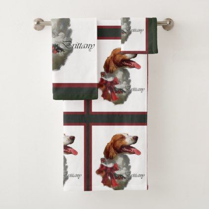 American Brittany Spaniel Christmas Bath Towel Set - cool gift idea unique present special diy