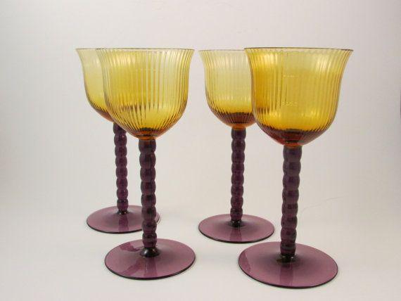 Vintage Long Stem Wine Glasses Amber Glass by LadyRoseTreasures