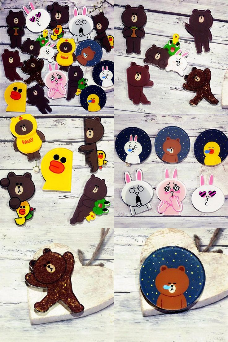 [Visit to Buy] 1 PC Cheap Cartoon Bear and Rabbit Brooch Acrylic Badges Icons on The Backpack Pin Badge Decoration Badges for Clothing #Advertisement