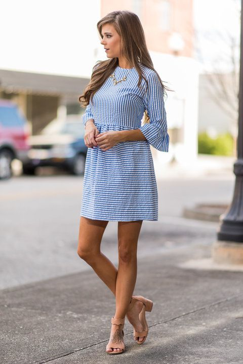 """Dreaming Of The Sun Dress, Sky Blue""Spring and summer time call for seersucker everything! Which makes this dress a must have! #newarrivals #shopthemint"