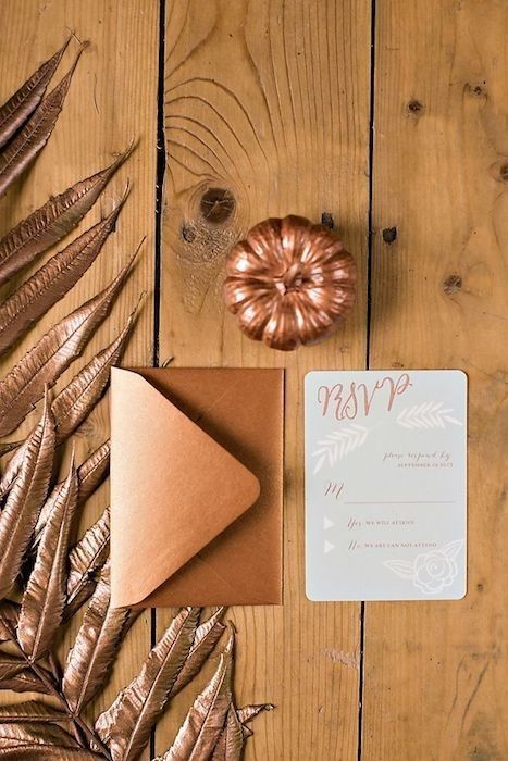 Gorgeous copper hued invitations / http://www.deerpearlflowers.com/bronze-copper-wedding-color-ideas/
