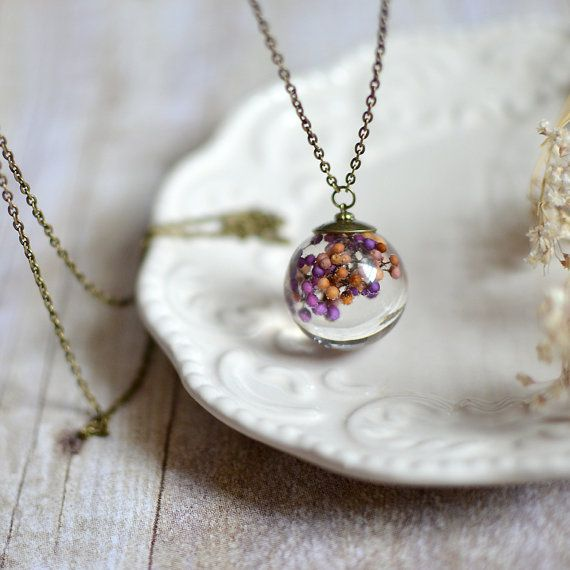 Resin Jewelry Clear Orb Sphere Necklace Preserved Flower