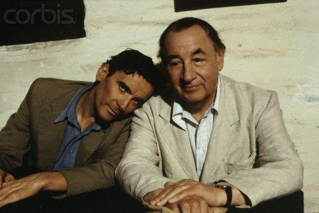 Massimo Troisi and Philippe Noiret as Mario Ruoppolo and Pablo Neruda in il Postino