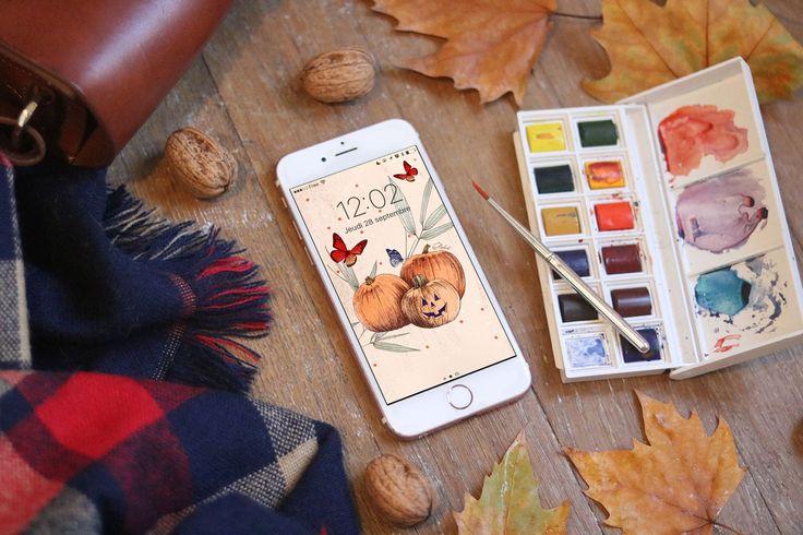 Télécharger votre fond d'écran gratuit illustré par Ëlodie aux couleurs de l'automne et d'Halloween. Disponible pour écran verrouillé et écran d'accueil.