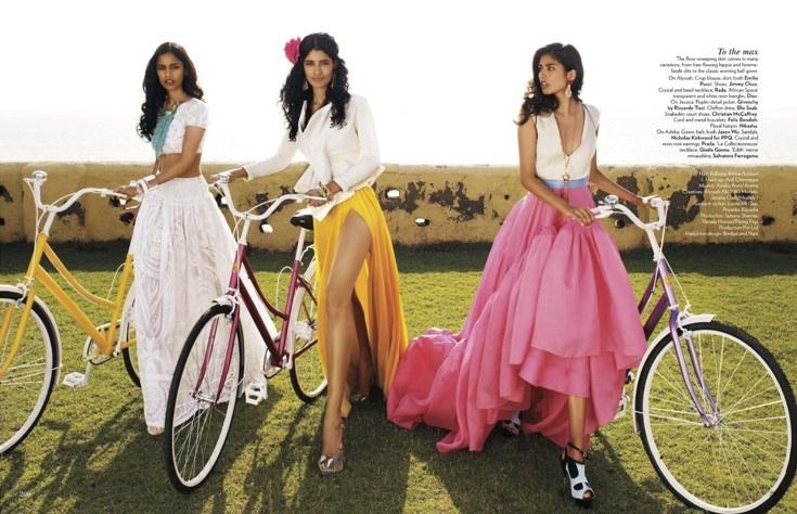 """Fashion's New Faces"": New Indian Models Alyssah Ali, Jessica Clark and Ashika Pratt by Marcin Tyszka for Vogue India"