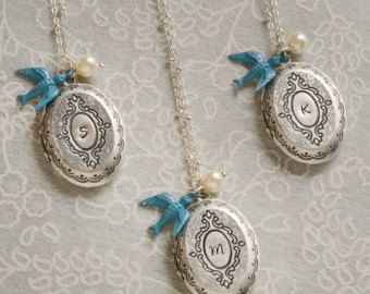 Bridesmaid Gift Locket Rustic Wedding Jewelry by LimonBijoux