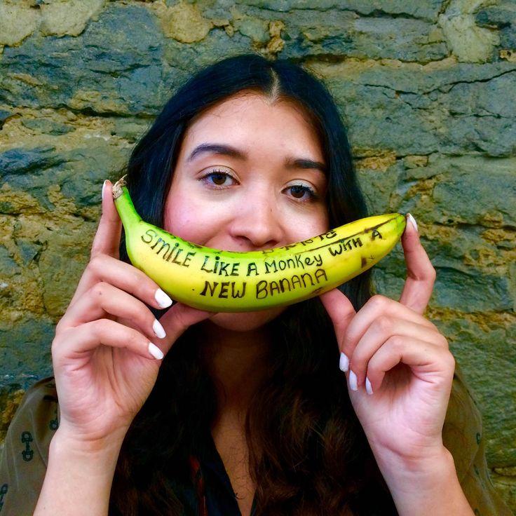 Smile like a monkey with a new banana.