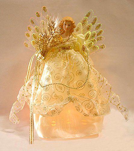 Seasons of Elegance Ivory & Gold Lighted Fiber Optic Ange...