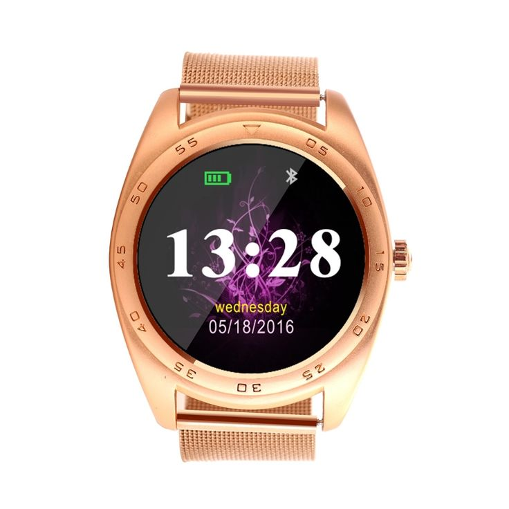 K89 Anti-lost 300mAh Heart Rate Sleep Monitor Bluetooth 4.0 Metal Strap Smart Watch for iPhone
