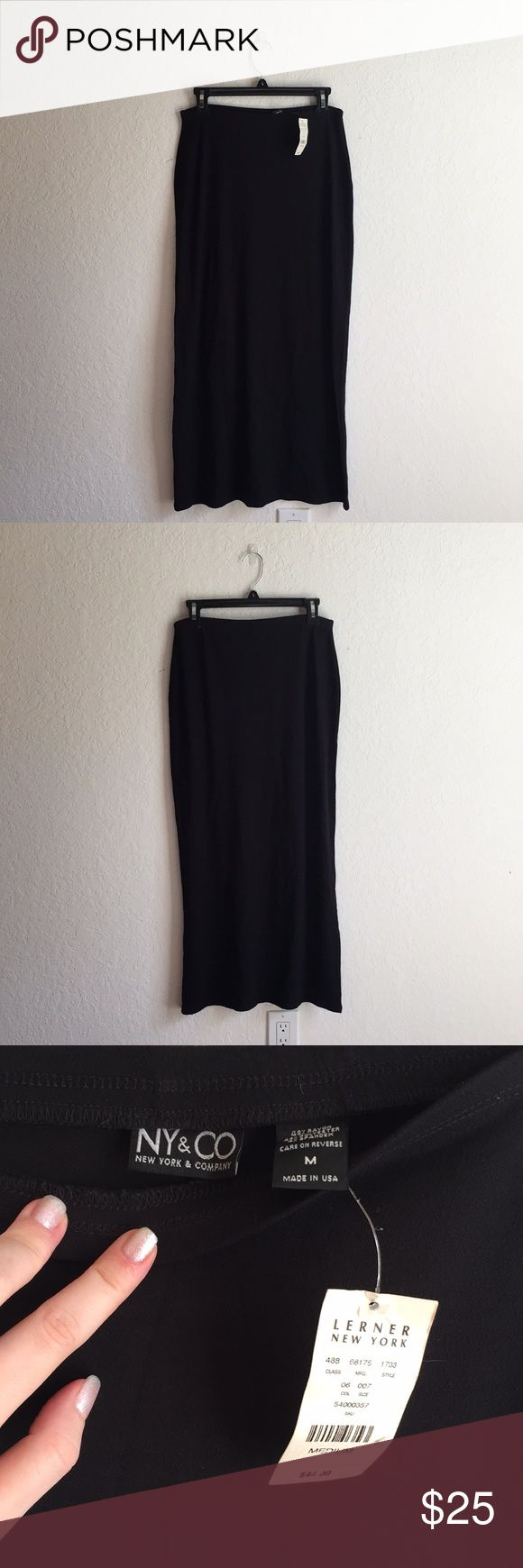 NWT Black maxi skirt long!!! So cute!! :) NY & CO NWT Black maxi skirt!! :) New York & Company!!   Perfect with a fun tight top and wedges or boots for Fall!! :)   Feel free to ask any questions. :) New York & Company Skirts Maxi
