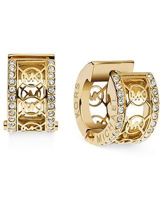 Michael Kors Earrings, Gold-Tone Pave Monogram Huggie Hoop Earrings - Michael Kors - Jewelry & Watches - Macy's