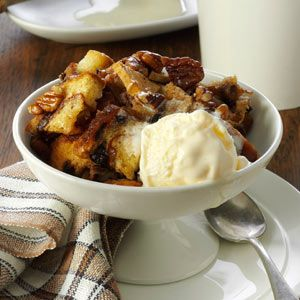 Apple-Nut Bread Pudding Recipe -Traditional bread pudding gives way to autumn's influences in this comforting dessert. I add apples and pecans to this slow-cooked version, then top warm servings with ice cream. —Lori Fox, Menomonee Falls, Wisconsin