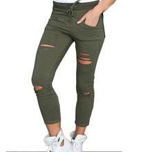 Calças femininas Mulheres leggings Buraco Rasgado Calças Stretch Fino Calças de Cordão Calças Calças Exército Verde alishoppbrasil
