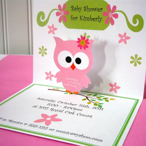 Owl Invitations, pop up style (12 cards with envelopes)