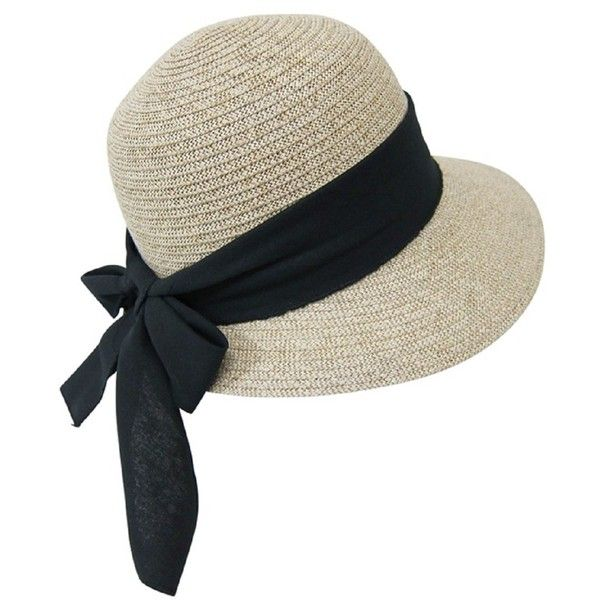 Straw Packable Sun Hat for Women - Wide Front Brim and Smaller Back -... (£17) ❤ liked on Polyvore featuring accessories, hats, wide brim hat, straw hat, straw sun hat, brim sun hat and wide straw hat
