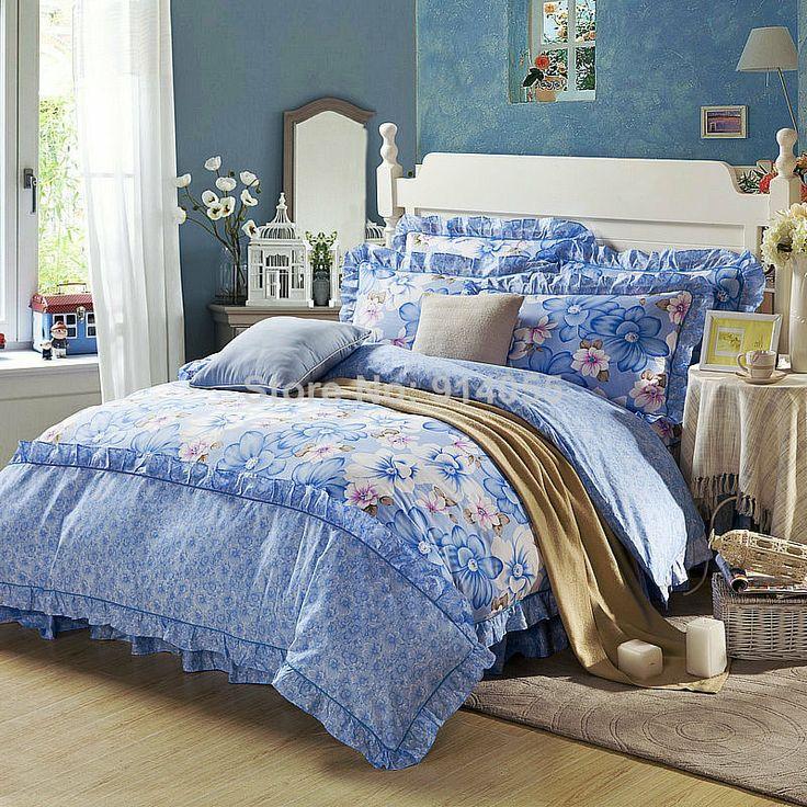 pure cotton four pieces lace korean bedding set duvet cover bed skirt bedding sheet comforter cover