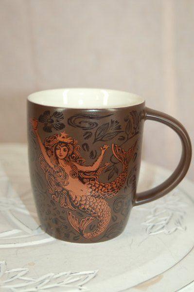 Starbucks 2011 40th Anniversary Mug 12 oz Copper Siren Mermaid Brown #Starbucks