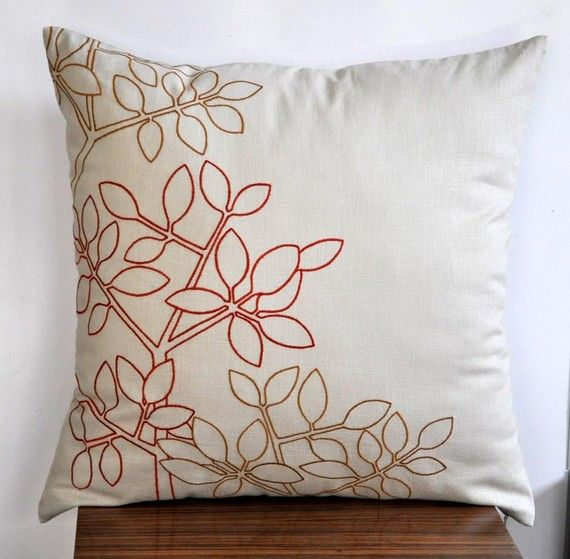 Twig Leaves Throw Pillow Cover - Oatmeal Linen with Orange Ochre Leaves Embroidery