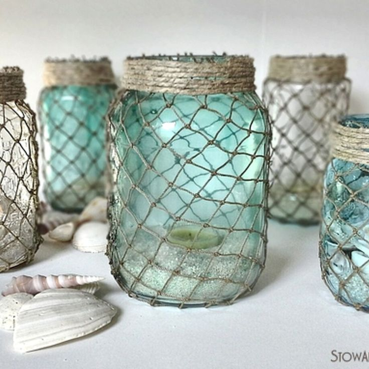 Coastal Inspired Netted Jars, but I think I'll try it with chicken wire instead.