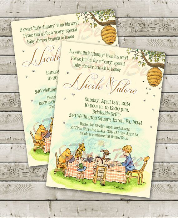 classic pooh baby shower invitation by amybeecreations on etsy