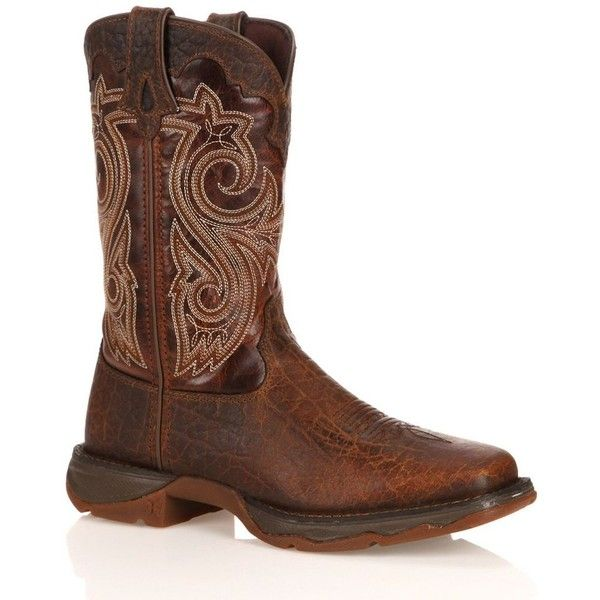 Durango Lady Rebel Women's Steel-Toe Cowboy Boots ($160) ❤ liked on Polyvore featuring shoes, boots, brown, square toe cowboy boots, western style boots, durango boots, western boots and western cowboy boots