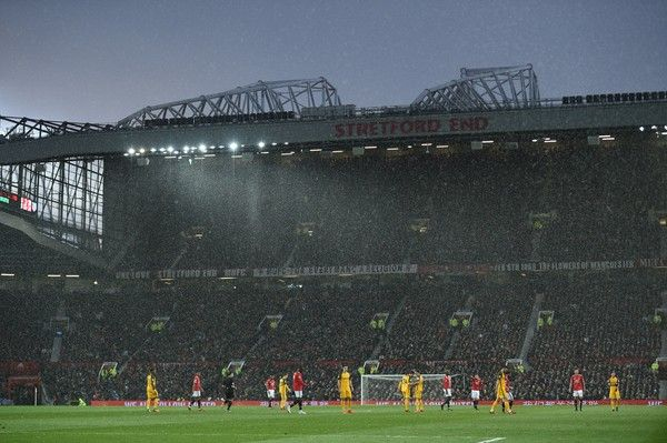 A general view shows the English Premier League football match between Manchester United and Brighton and Hove Albion at Old Trafford in Manchester, north west England, on November 25, 2017. / AFP PHOTO / Oli SCARFF / RESTRICTED TO EDITORIAL USE. No use with unauthorized audio, video, data, fixture lists, club/league logos or 'live' services. Online in-match use limited to 75 images, no video emulation. No use in betting, games or single club/league/player publications.  /