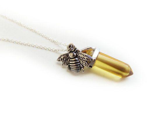 Honey Bee collier, collier d'abeilles, collier en cristal bumble bee, collier en cristal verre jaune, cadeaux de demoiselles d'honneur, des faveurs nuptiales de douche