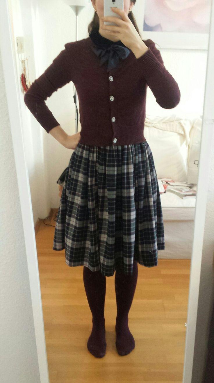 Collectif Tartan Dress with Bow and H&M Cardigan