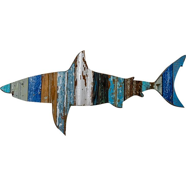 Recycled Great White Shark Wall Art: Coastal Home Decor, Nautical Decor, Tropical Island Decor & Beach Furnishings