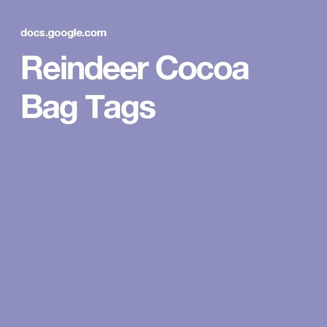 Reindeer Cocoa Bag Tags