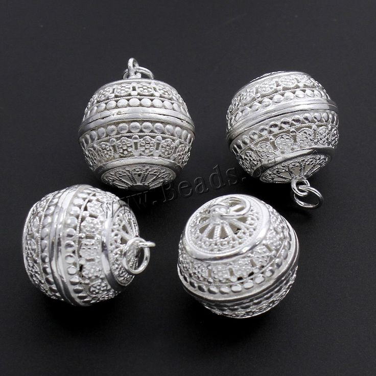 Hollow Brass Beads, Round, real silver plated