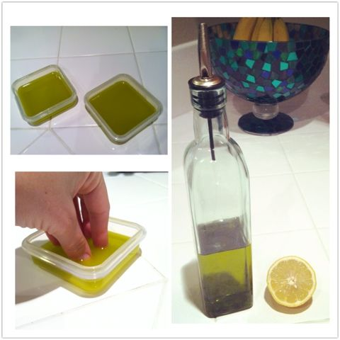 DIY Nail Strengthening Treatment: Olive Oil/Lemon Soak. Ingredients: 6T Olive Oil, 2T of Lemon Measure out the ingredients and put them in a tupperware. Put the lid on and shake it up to mix. Then divide into two shallow containers and soak! Do 5 minutes at the least, and up to 30 if you have the time.