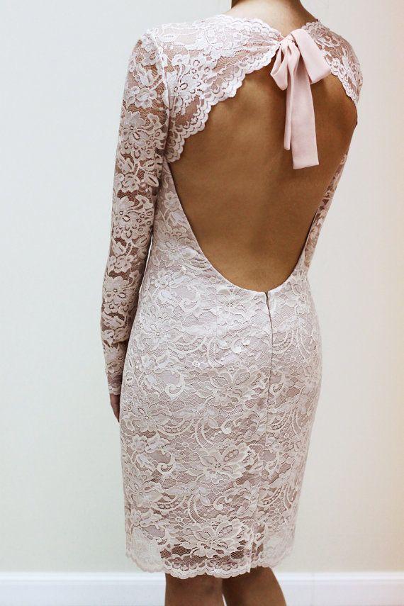 Champagne Lace Dress with Keyhole Back Custom por PolinaIvanova