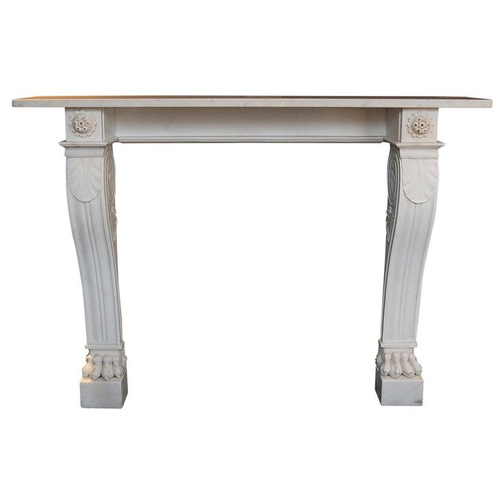 Original Statuary White Belgian Lion Paw Marble Fireplace Surround | From a unique collection of antique and modern fireplaces and mantels at https://www.1stdibs.com/furniture/building-garden/fireplaces-mantels/
