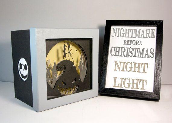Nightmare before Christmas shadow box night light by FairyCherry