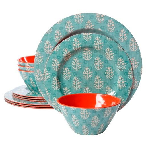 The Studio California by Laurie Gates Solina 12-piece melamine dinnerware set features a combination of a modern geo-floral design and a two-tone aqua/orange color scheme. This unique set is perfect for everyday dining or outdoor entertaining. All pieces are made of chip-resistant melamine and are dishwasher safe (top rack). This beautiful set features service for 4 and includes 4 dinner plates, 4 dessert plates and 4 bowls.