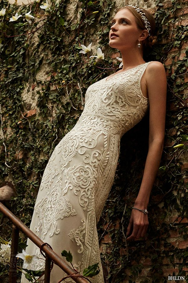 BHLDN Spring 2015 Wedding Dresses. Alhambra designed by Yoana Baraschi features a plunging-v neckline and filigreed embroidery throughout the bodice and column skirt.