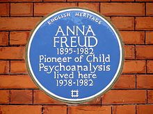 Blue plaque for Freud at 20 Maresfield Gardens.  https://en.wikipedia.org/wiki/Anna_Freud