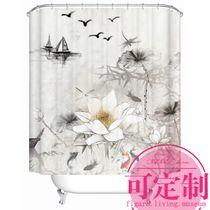 Frais rideau de rideaux salle de bains personnalisée Lotus douche Rideau vert rouille imperméable à leau coupée dimportations de Rideau en tissu polyester