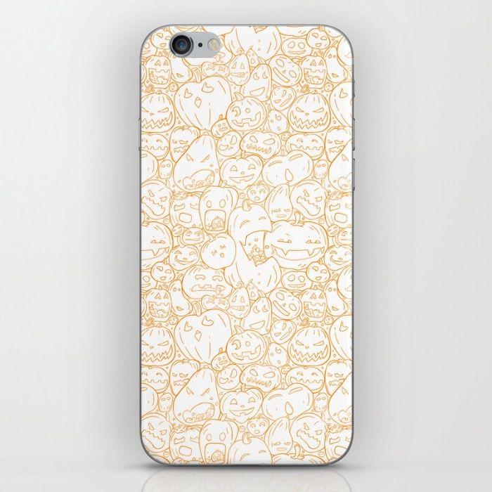 Pumpkin Halloween line pattern iPhone & iPod Skin by StrijkDesign | Society6