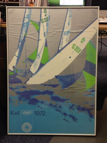 Vintage Framed Poster 1972 Olympic Games Kiel Sailing 1972 Peter Cornelius | eBay