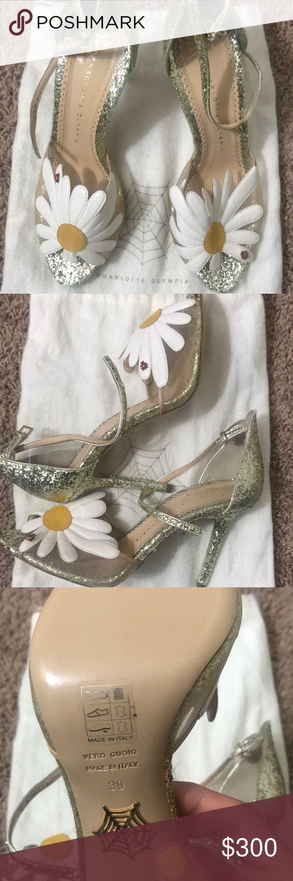 Charlotte Olympia Marguerite Glitter Sandals Heels Gorgeous summer sandals. Never worn, in bag. Charlotte Olympia Shoes Heels