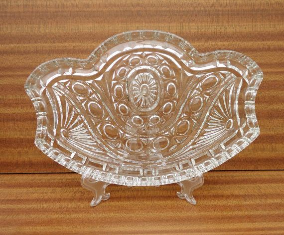Vintage Dressing Table Tray Clear Cut Glass by thesecretcupboard