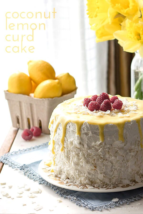 Luscious low carb lemony coconut dessert recipe. This gorgeous layer cake has coconut, lemon curd and whipped cream frosting. Keto THM Banting LCHF recipe.  via @dreamaboutfood